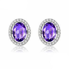 Stud earrings for women - 1ct Oval Purple Amethyst Silver Color Stud Earring 925 Sterling Silver Party Fine Jewelry for Women
