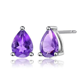 Stud earrings for women - 5*7mm 1.41Ct Natural Amethyst Gemstone Stud Earrings Genuine 925 Sterling Silver Fashion Jewelry