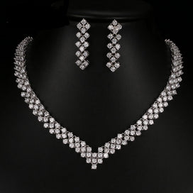 Bridal jewellery set - AAA Cubic Zironia African Beads Jewelry Set White Gold Color Bridal Jewelry Sets For Women Wedding