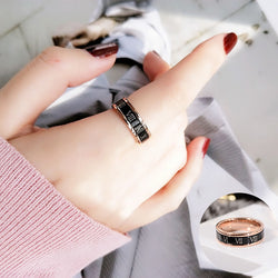 Titanium rings for women - Rotatable Black Roman Numerals Ring Rose Gold Color Fashion Titanium Steel Jewelry Wedding Gift