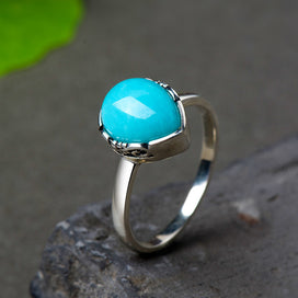 Sterling silver turquoise rings - Authentic Sterling Silver 925 Ring Designer Jewelry Water Drop Turquoise Rings For Women