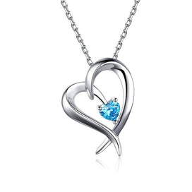 Sterling silver necklace chain - 925 Sterling Silver Shape Of My Heart Pendant Necklaces Shine Blue CZ Long Chain For Women