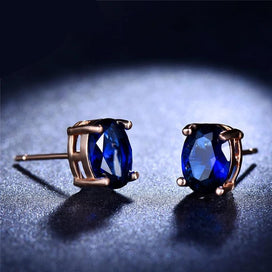 Mystical Fire Birthstone Oval Stud Earrings For Women 925 Silver Rose Gold Filled Blue Black Purple Zircon Earrings - blue stud earrings, cubic zirconia stud earrings, earring studs, stud earrings, stud earrings for women