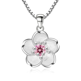 Pink crystal necklace - Cherry Blossoms Necklace Flower Silver Chain Color Pink Purple Crystal Pendant Necklaces Jewelry