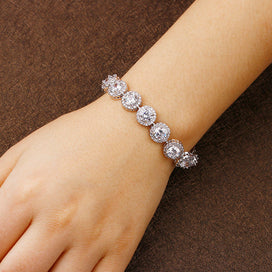 Charm bracelets for girls - Women Bracelet White Gold Color Chakra Charm Bracelet With AAA Cubic Zircon Snap Button Jewelry