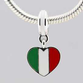 Charm bracelets for girls - 925 Sterling Silver Charms Fits Pandora Bracelet Italy Heart Flag Silver Dangle with Green White