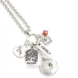 Charm necklace chain - 1PC 18mm Snap Jewelry Family MOM Necklace Family Tree Charms Snap Pendant Necklace Gift For Mother Mom