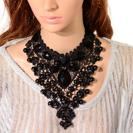 Chunky bead necklace - Europe Exaggerate Black Beads Elegant Lady Big Chunky Statement Pendant Choker Lace Necklace For Women