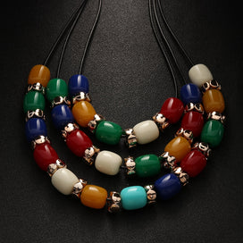 Charm necklace chain - 1 Pc Fashion Ethnic Style Charm Multi Color Acrylic Beads Pendant Necklace Women Wedding Jewelry Nice