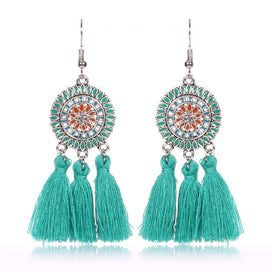 Fringe tassel earrings - Bohemia Cotton Tassel Earrings For Women Big Sun Flower Fringe Earrings Statement Jewelry Female