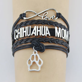 Charm bracelets for girls - Infinity Love Chihuahua Mom Bracelets Paw Charm Handmade Rope Leather Weave Bangles For Women