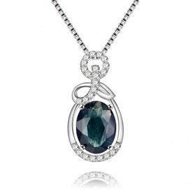 Blue sapphire necklace - 1.5ct Oval Dark Blue Sapphire Gemstone Halo Solitaire Pendant 925 Sterling Silver Fine Jewelry For