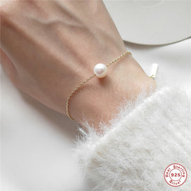 Charm bracelets for girls - 925 Sterling Bracelet Gold Chain Charm Bracelets for Women Simple Pearl Bracelets Wedding Jewelry
