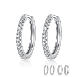 Hoop earrings for women - 925 Sterling Silver Big Hoops Earrings Fashion Jewelry Wedding CZ Huggie White Gold Earrings For