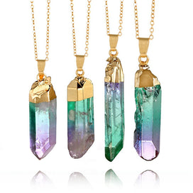 Rainbow crystal necklace - 1Pc Fashion Rainbow Stone Pendant Necklace Random Send Natural Crystal Chakra Rock Necklace Golden
