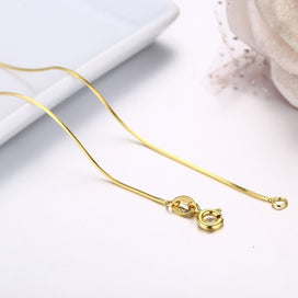 925 sterling silver necklace - 35cm-60cm Thin Slim Octagon Snake Chains Long Necklace Women Kids Girls Jewelry Real 925 Gold