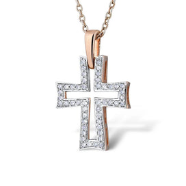 14k gold necklace for women - Gold Pendants For Women Authentic 14K 585 Rose Gold Sparkling Diamond Hollow Cross Concise Fine