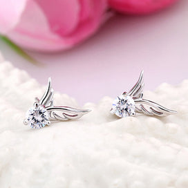 Stud earrings for women - 1 Pair Cute Hypoallergenic Butterfly Wings Silver Plated Ear Stud Earrings Women Fashion Jewelry