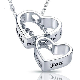 Engraved necklace for her - Double Heart Pendan Necklace With 925 Sterling Silver Chain Necklaces I Love You Heart Couple For