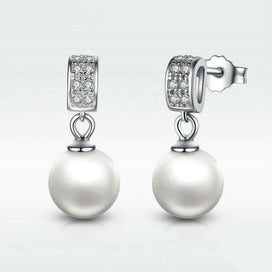 White pearl earrings - 925 Sterling Silver Drop Earrings With Clear CZ For Women Lady Authentic Fashion European Jewelry