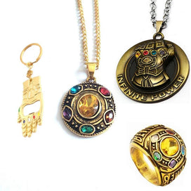 Crystal stone necklace - Movie Jewelry Avengers Thanos Infinity Stones Necklace Crystal Round Charms Pe0ndant Choker Bottle