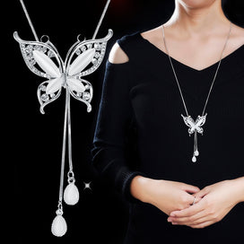 Opal butterfly necklace - Long Chain Necklaces For Women Fashion Opal Butterfly Necklaces & Pendants Sweater Chain Koyle