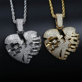 Heart chain necklace - Heart Necklace & Pendant With 4mm Tennis Chain Gold Silver Color Cubic Zircon Men's Women Hip