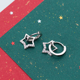 Cubic zirconia hoop earrings - 925 Sterling Silver Sparkling Star Small Loops Huggie Hoops Earrings For Women Jewelry Kids