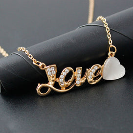 Sterling silver necklace chain - LOVE Letter Rhinestone Heart Chain Pendant Necklace Female Crystal Retro Necklace For Women