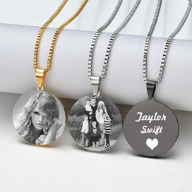 Engraved locket necklace - Engrave Photo Round Pendant Necklace For Women Customized Words Dog Tag Medal Necklace With Link