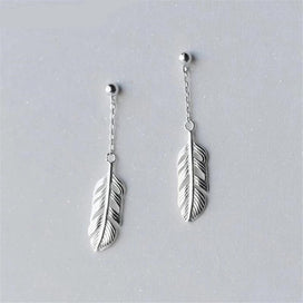 Feather dangle earrings - 925 Sterling Silver Korean Sweet Feather Long Earring Temperament Simple Personality Short Earring