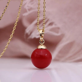 One pearl necklace - Fine Coral Red Shell Pearls Long Necklaces 585 Rose Gold Women Party Simple Fashion Jewelry Wedding