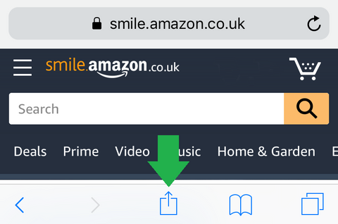 Amazon Smile home page on the Safari browser, showing the share button