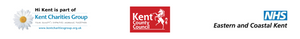 Kent Charities Group logo, Kent County Council logo and NHS Eastern and Costal Kent logo