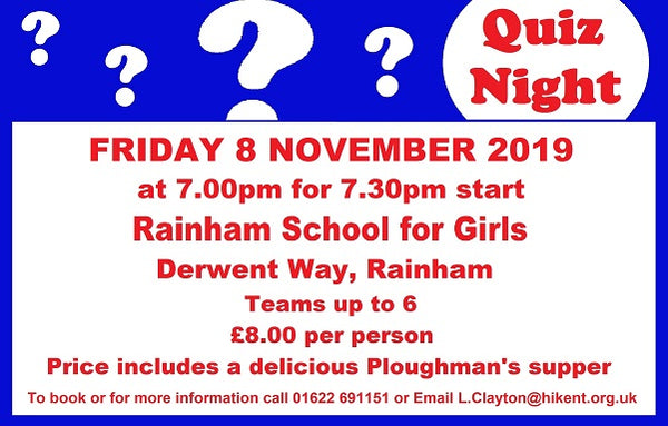 Poster for the Rainham Quiz