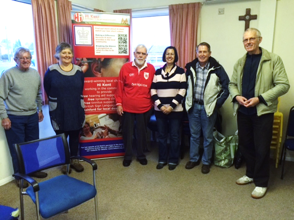Six people at the Ashford tinnitus support group