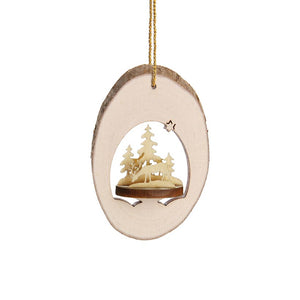 Wooden 3D Locket With Forest Life Scene