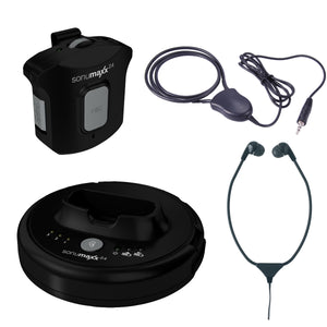 Sonumaxx 2.4 Digital Headset/Neckloop System showing the transmitter, pocket receiver, stethoscope receiver and neckloop