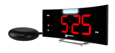 Front view of the Wake 'n' Shake Curve alarm clock with vibrating pad
