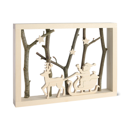 3D Wooden Scene of Santa and his Sleigh