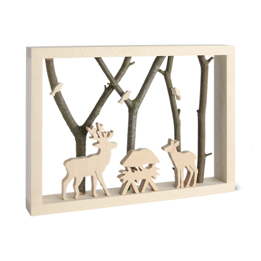 3D Wooden Scene of Deer at the Manger