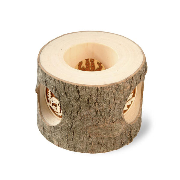 Bark Tealight Holder With 3 Insert Scenes (Father Christmas, Natiity and Candles)