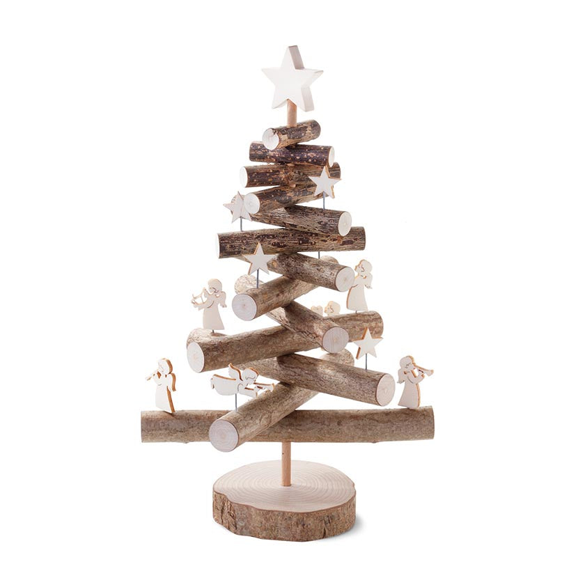 Decorative Wooden Christmas Tree With Decorations