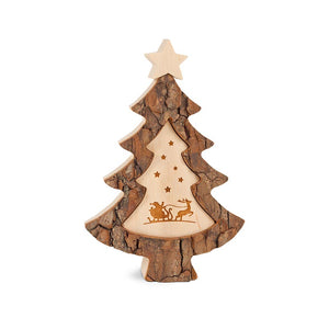 Bark Tree With Engraving Of Father Christmas & Stars Scene