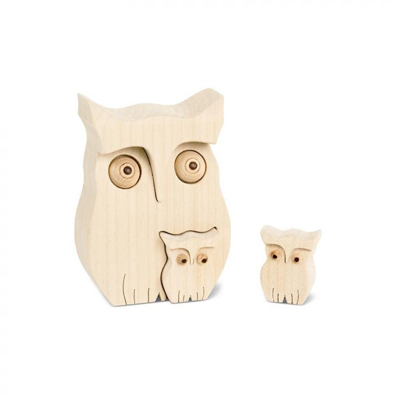 Wooden Owl With Two Baby Owls