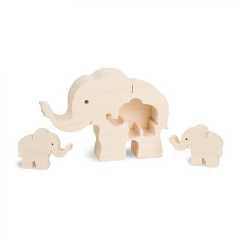 Wooden Elephant With Two Baby Elephants