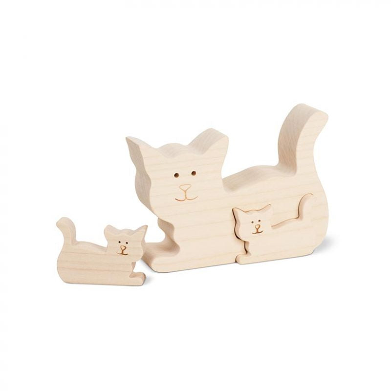 Wooden Cat With Two Small Kittens