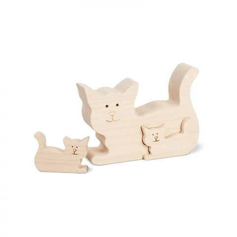 Wooden Cat With Two Kittens