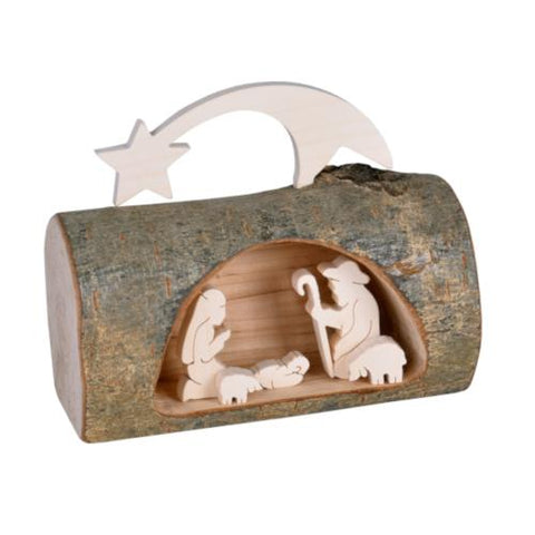 Log With Inset Nativity Scene