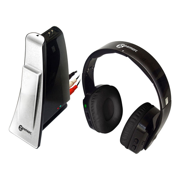 CL7400 Wireless Headphones showing the red and white component RCA audio inputs in the transmitter/charging station